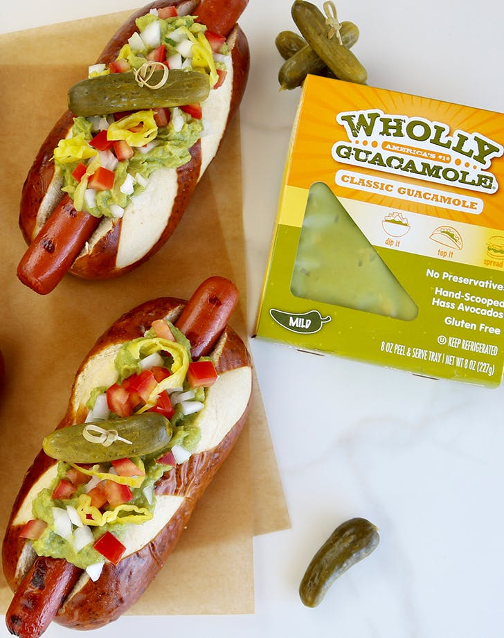 guacamole and hot dogs