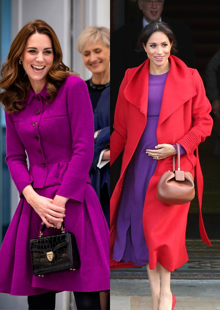 kate middleton meghan markle purple