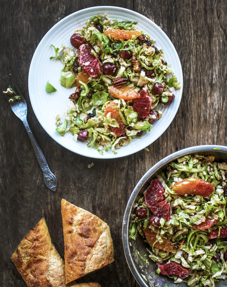 massaged winter brussels sprout salad recipe