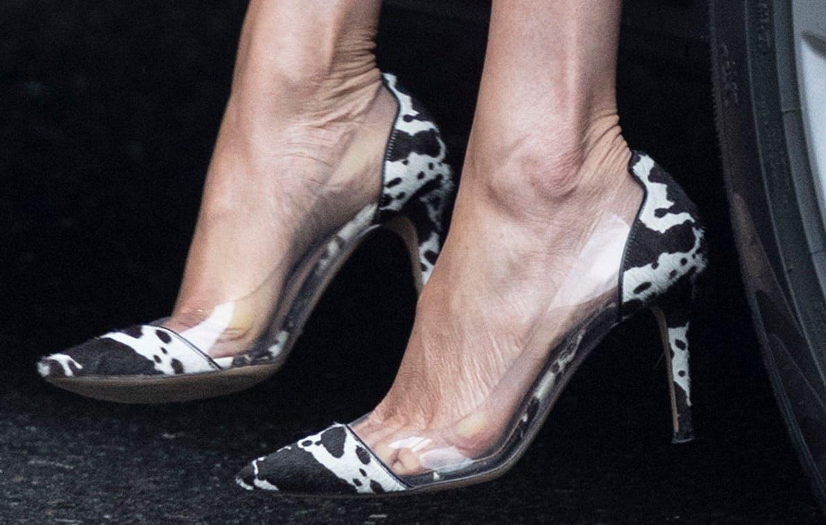 meghan markle cowprint shoes