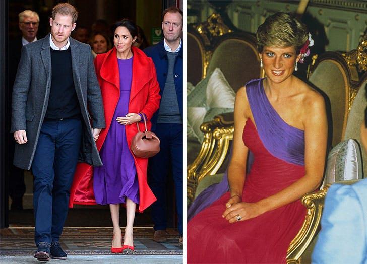 meghan markle red purple princess diana