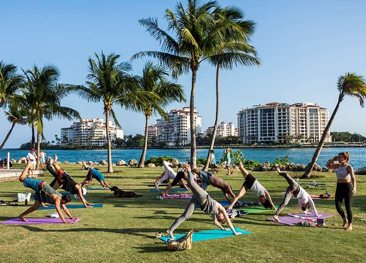 miami yoga on water