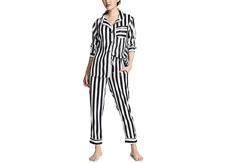 plush black and white stripe pajamas