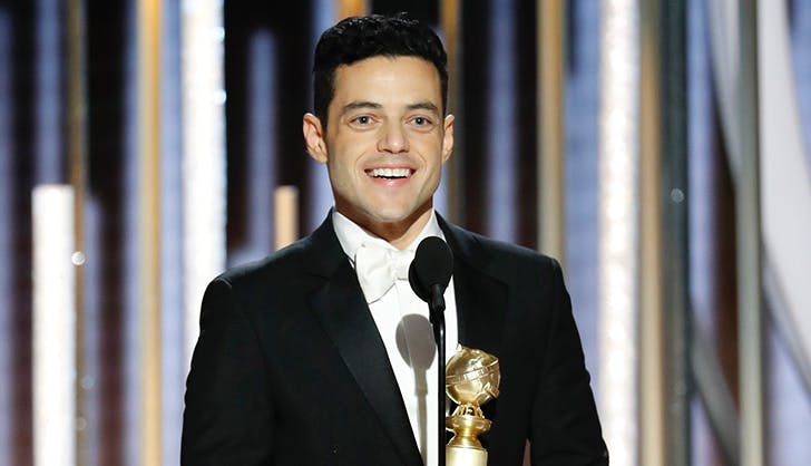rami malek accepting golden globe award