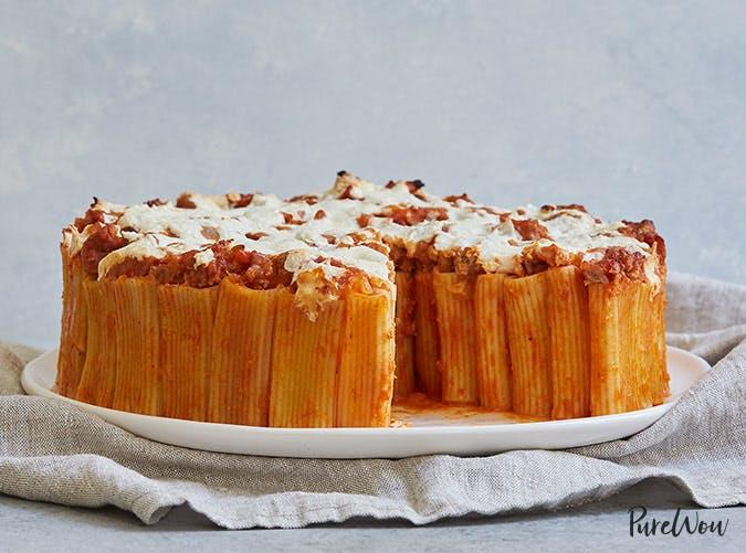 rigatoni pasta pie tomato sauce