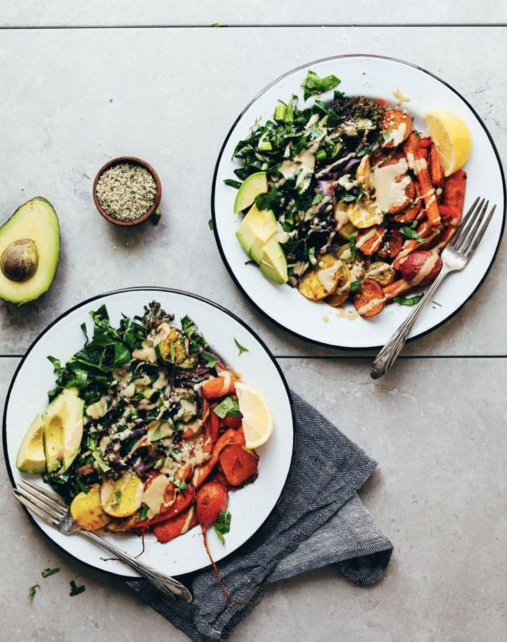 roasted rainbow vegetable bowl recipe