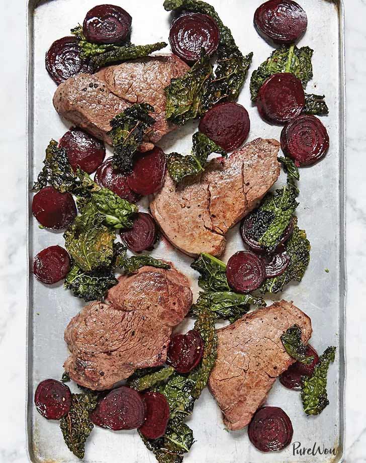 sheet pan steak kale beets valentines day dinner
