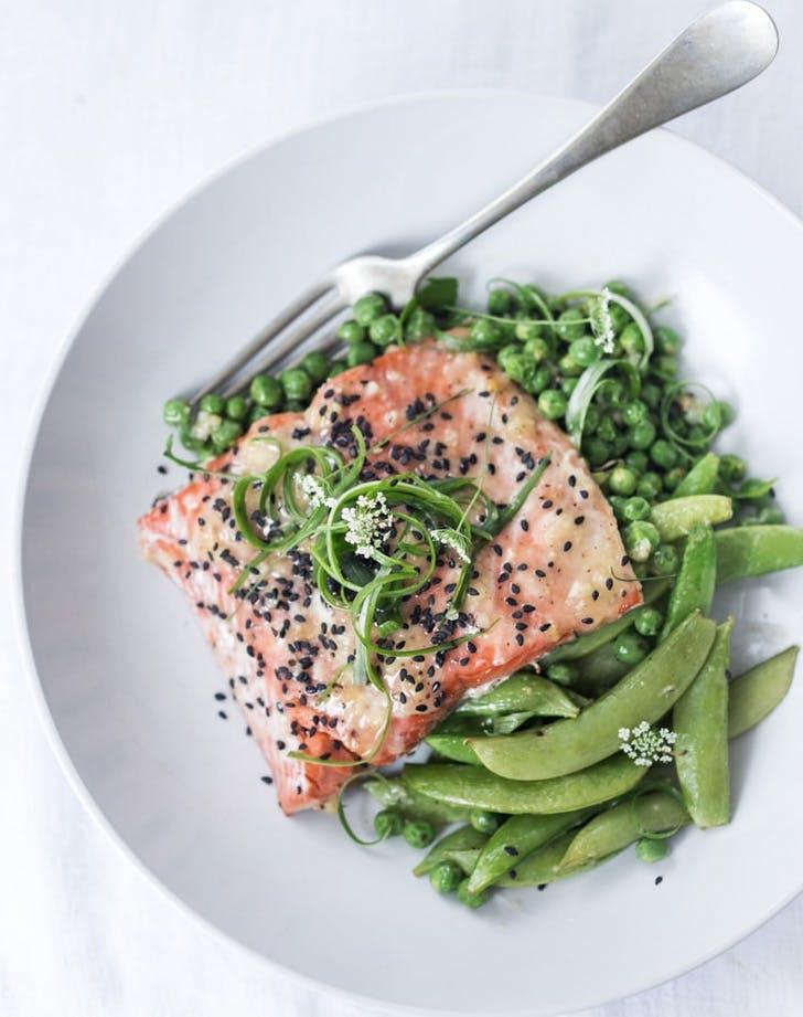 sheet pan miso salmon and spring peas recipe