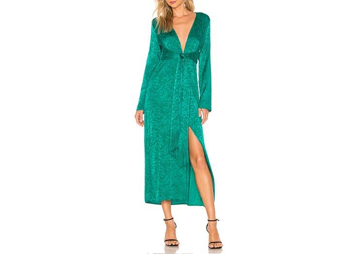 silk jacquard robe dress
