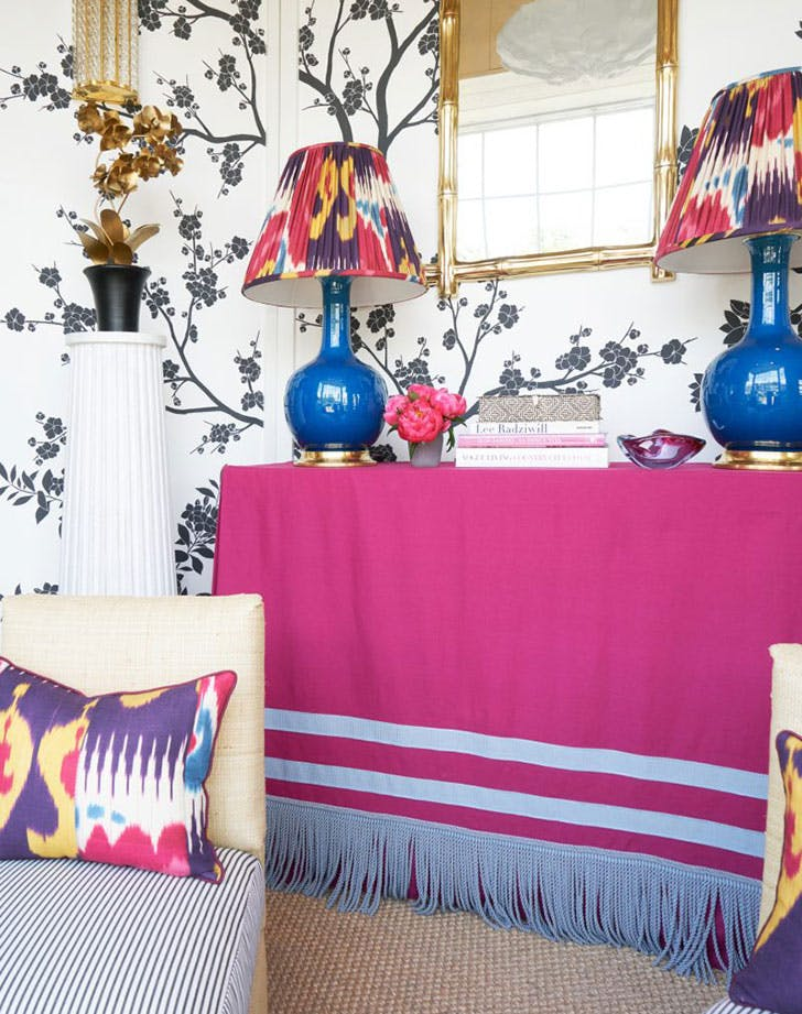 skirted table colorful room