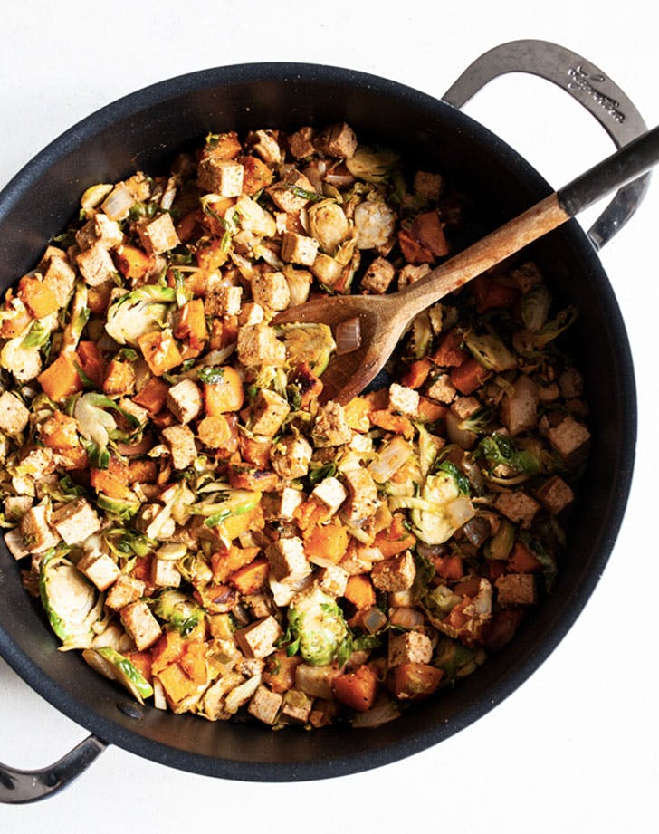 smoky butternut squash tofu and apple breakfast hash recipe