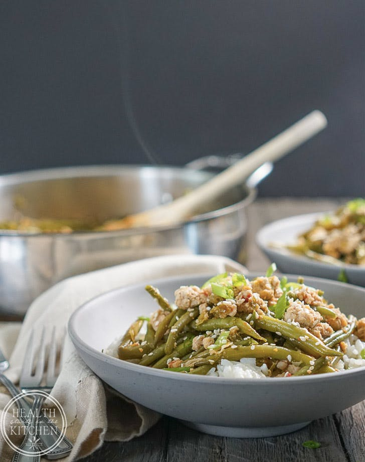 spicy chinese green beans with ground turkey