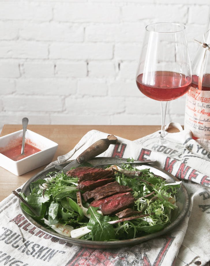 steak salad with grilled ramps recipe