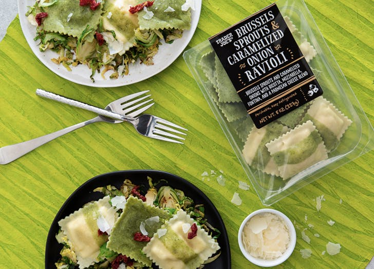 trader joes brussels sprouts caramelized onion ravioli