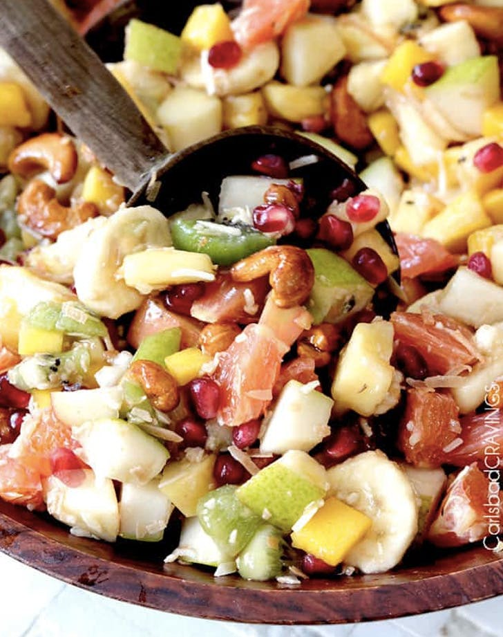 tropical winter fruit salad with caramelized cashews and pomegranate recipe
