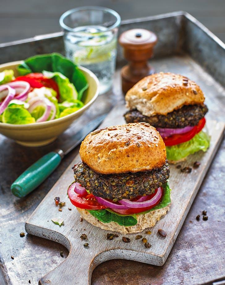 Vegan Lentil-Mushroom Burgers