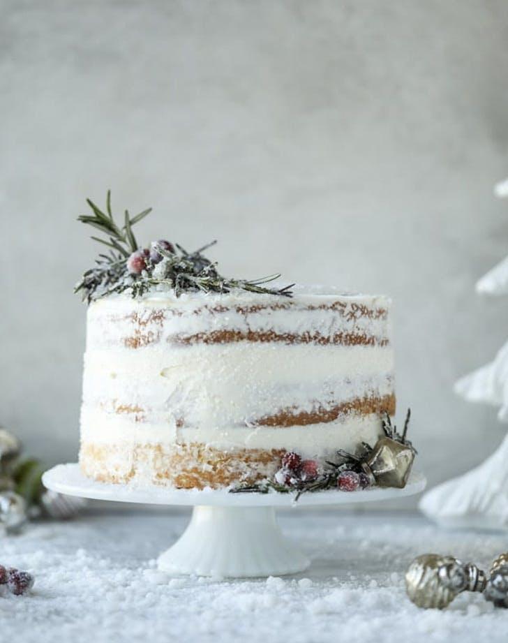 white sparkle naked cake