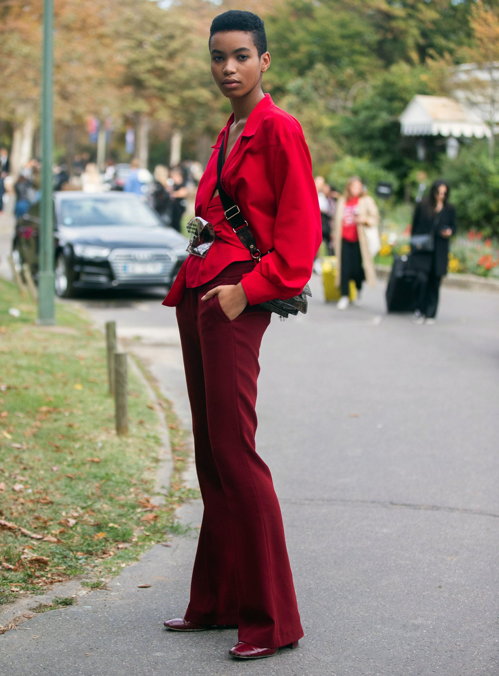 woman wearing all red