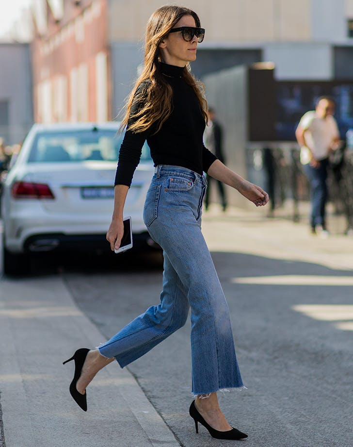 woman wearing classic blue wash jeans