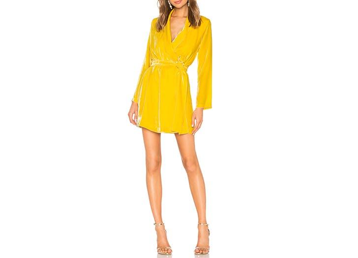 yellow velvet robe dress