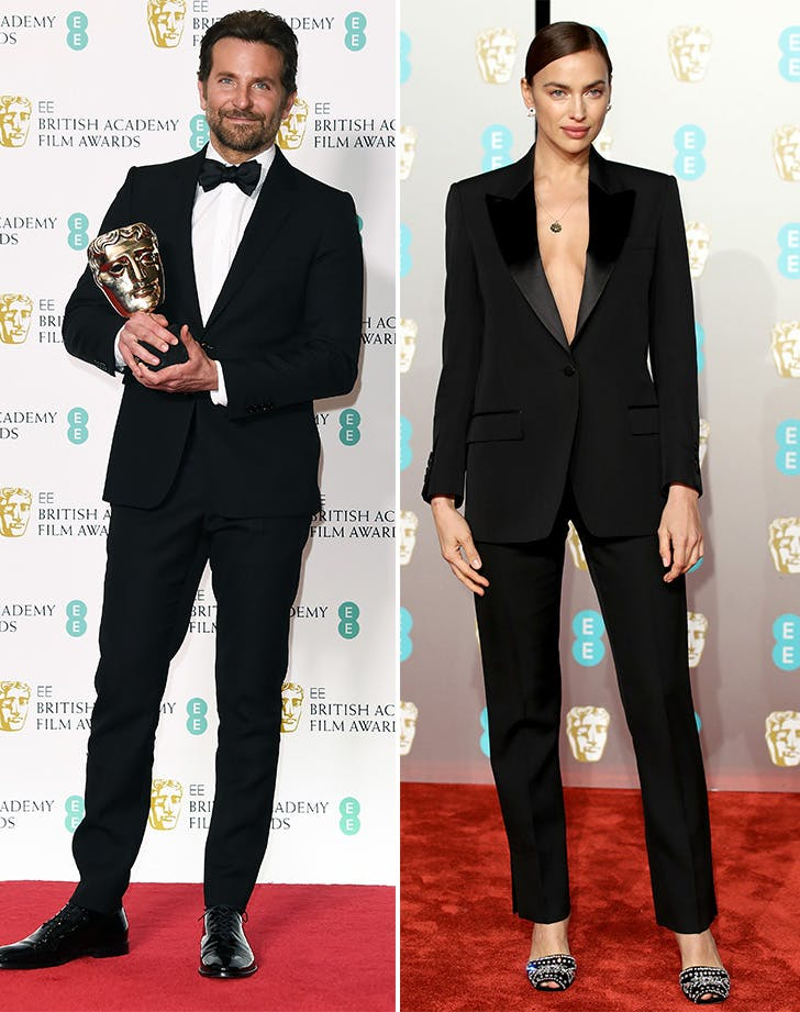 Bradley Cooper and Irina Shayk wearing black suits