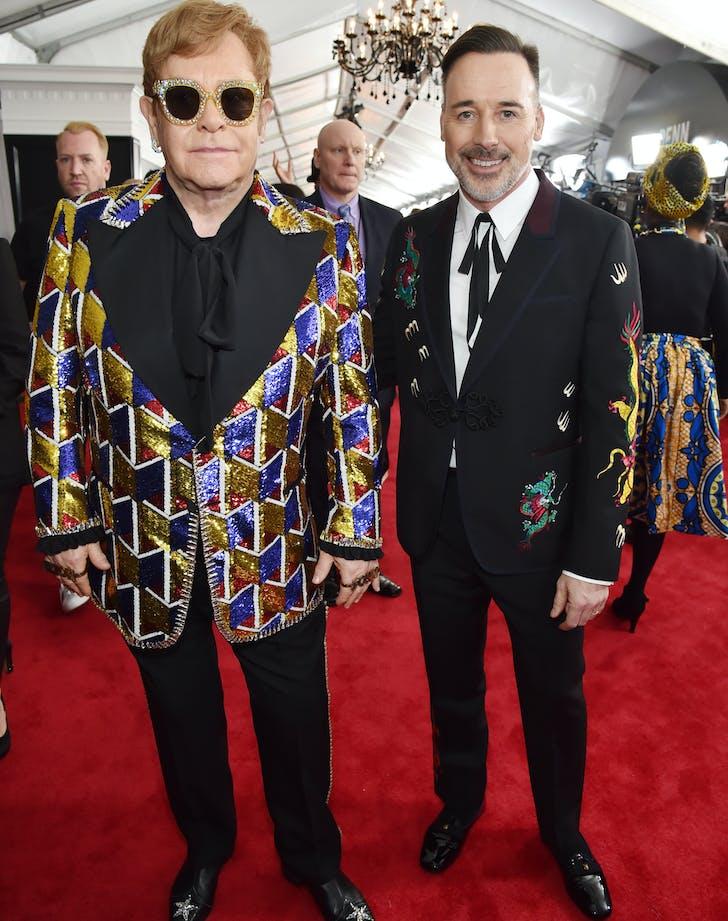 Elton John and David Furnish at 2018 Grammys