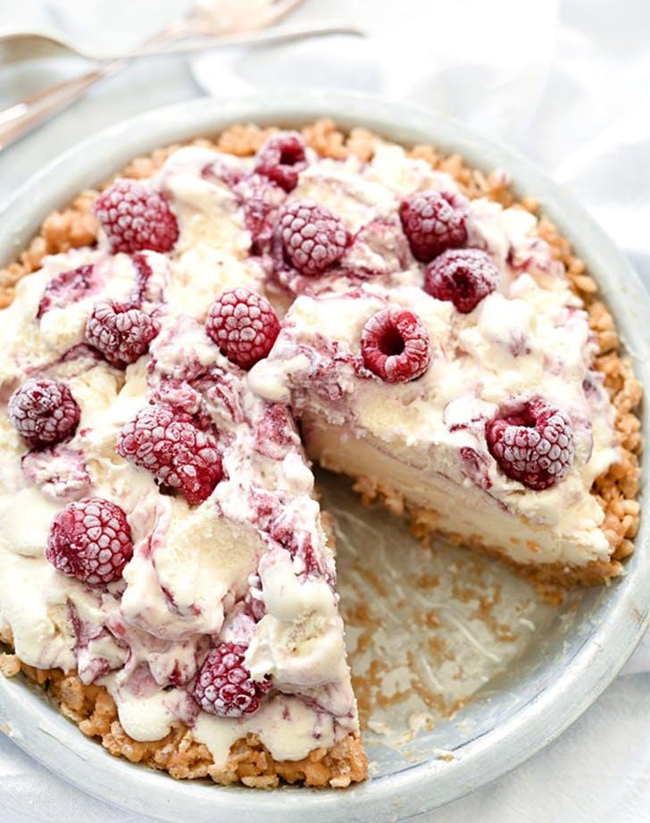 Four Ingredient Ice Cream Pie with Peanut Butter Krispie Crust