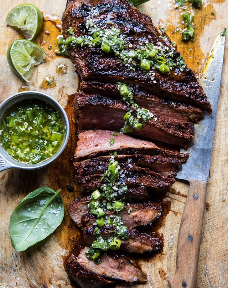 Korean Grilled Steak with Toasted Sesame Chimichurri