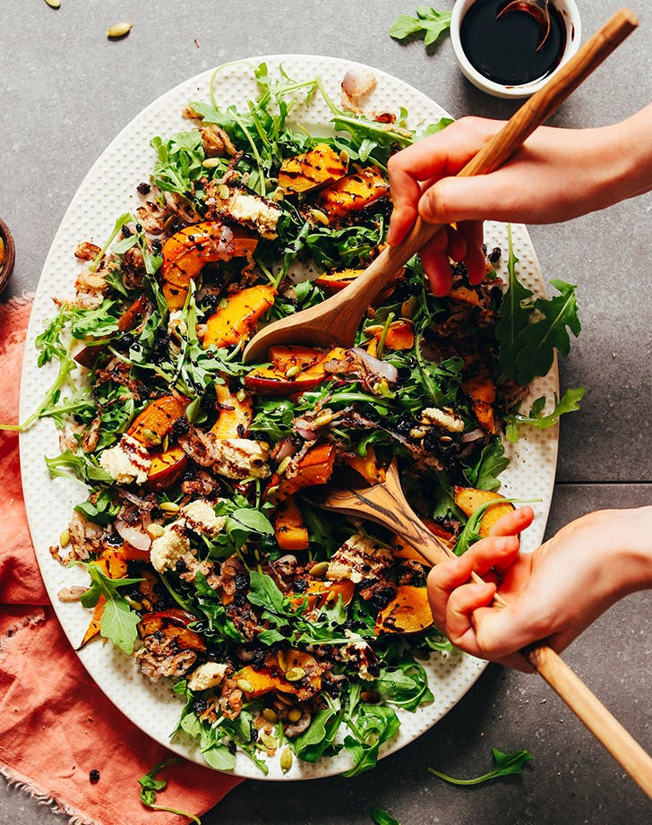 Roasted Squash Salad with Crispy Shallot   Balsamic Reduction