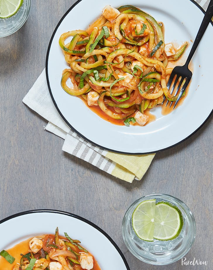 Zoodles with Tomato Sauce and Mozzarella