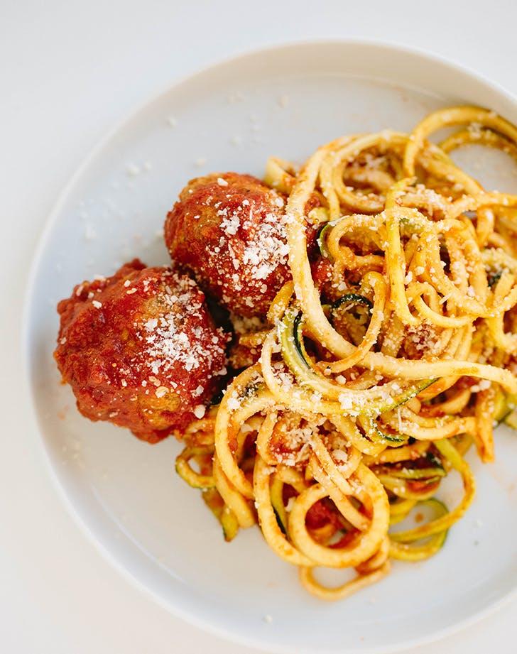 Zucchini Spaghetti with Gluten Free Turkey Meatballs