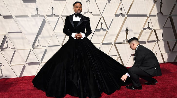 Billy Porter's Red Carpet Look Puts a Dramatic Spin on the Tuxedo Dress