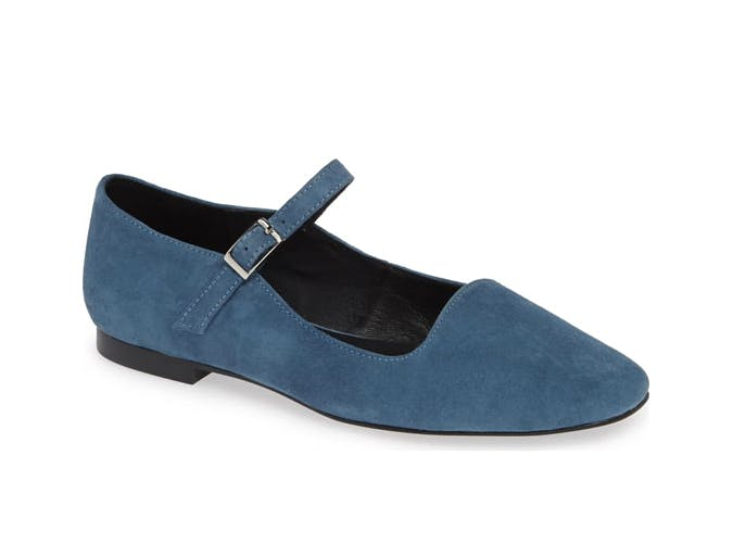 blue suede mary janes