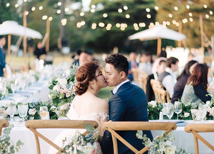 bride and groom at venue