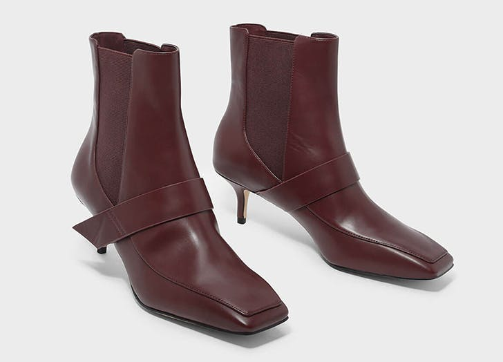 charles and keith square toe burgundy boots
