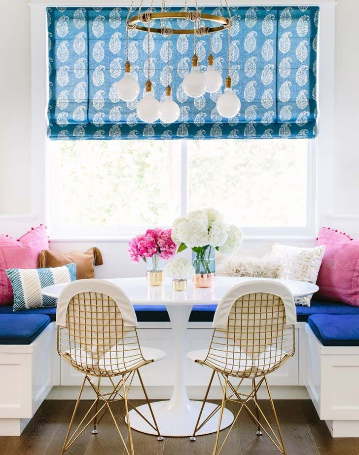 colorful kitchen banquette