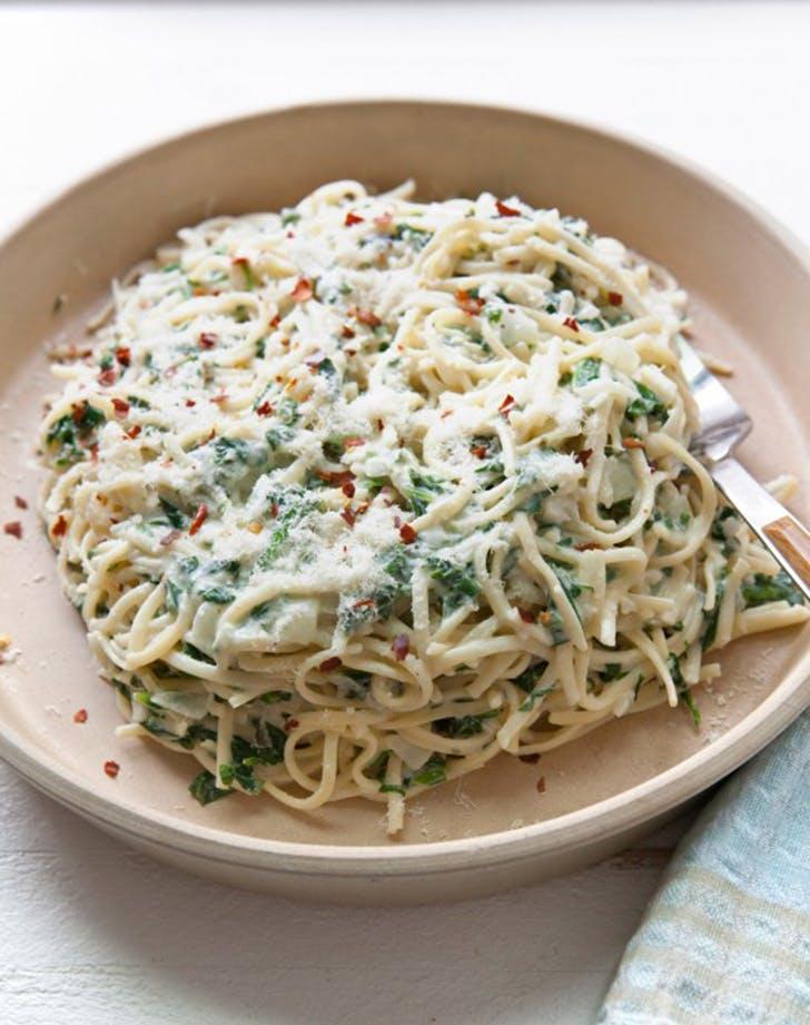 creamy goat cheese spinach linguine recipe