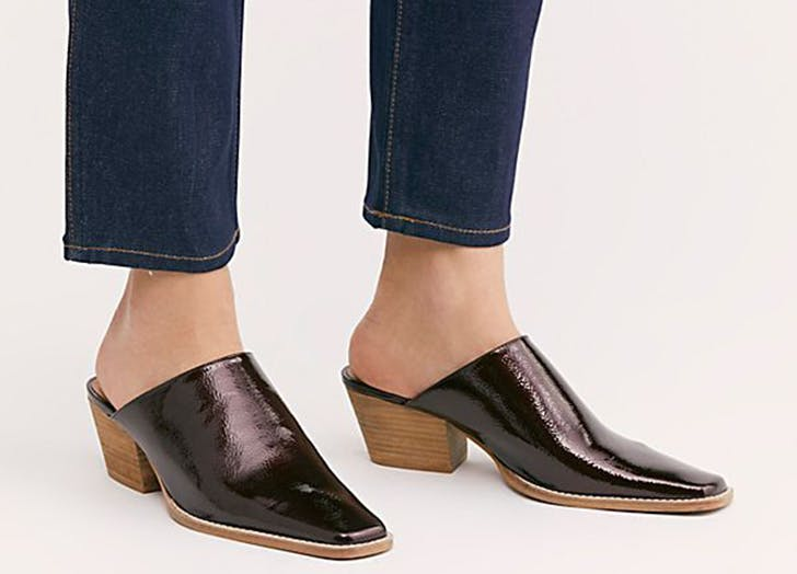 free people brown patent square toe mules