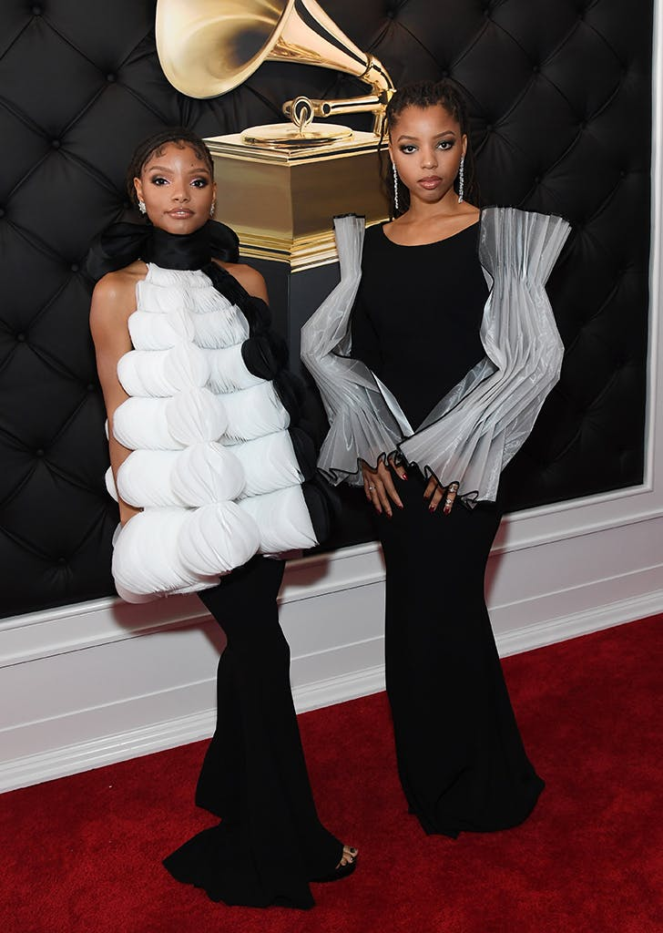 halle x chloe at the grammys