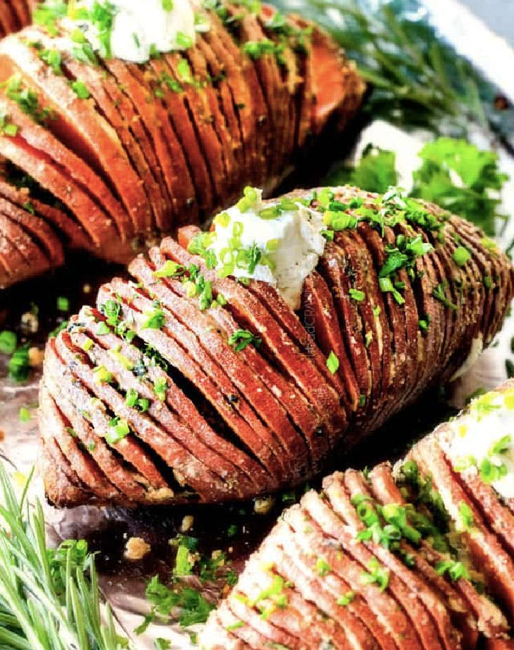 hasselback sweet potatoes with garlic herb butter recipe