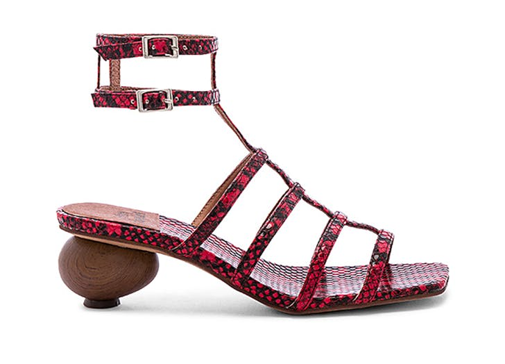 jeffrey campbell red snake print square toe sandals