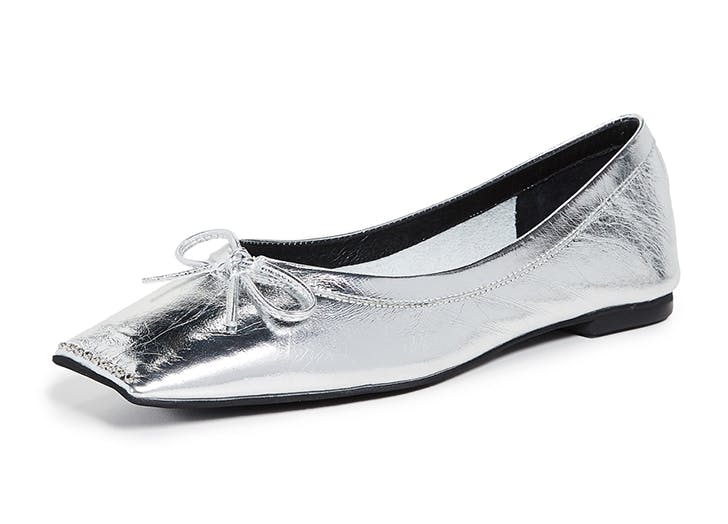 jeffrey campbell silver square toe flats