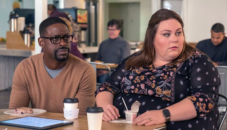 kate and randall in a cafeteria this is us