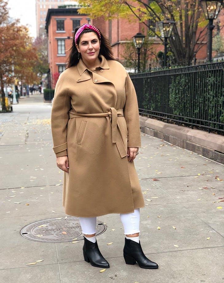 katie sturino wearing a camel coat