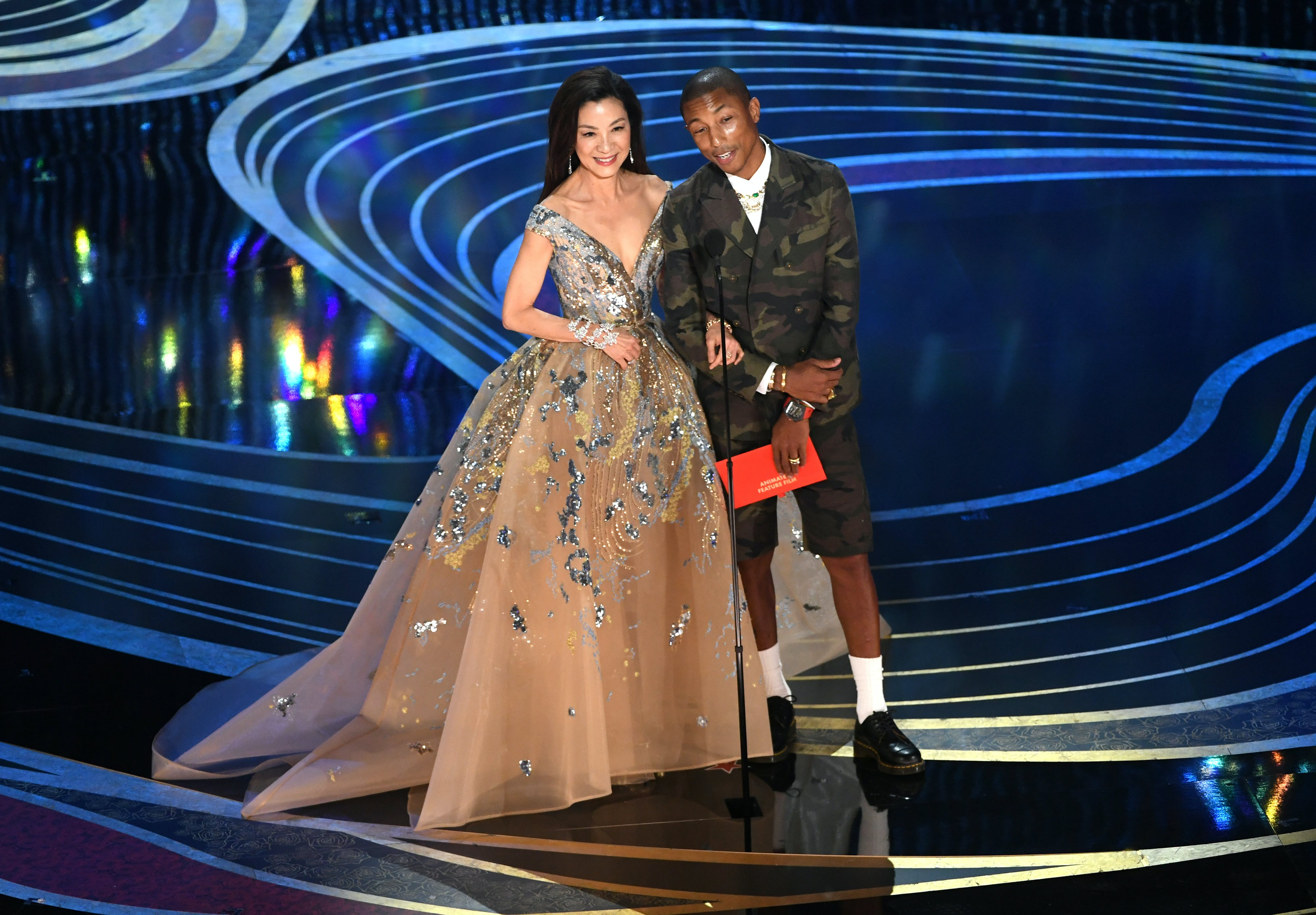 michelle yeoh and pharrell at the oscars
