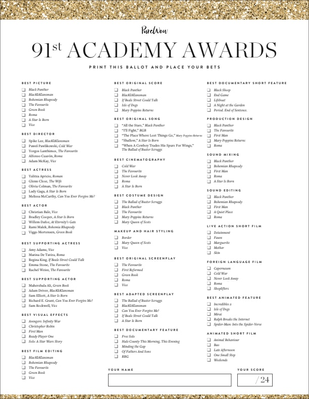 graphic about Oscar Ballots Printable known as Printable Oscar Ballot 2019