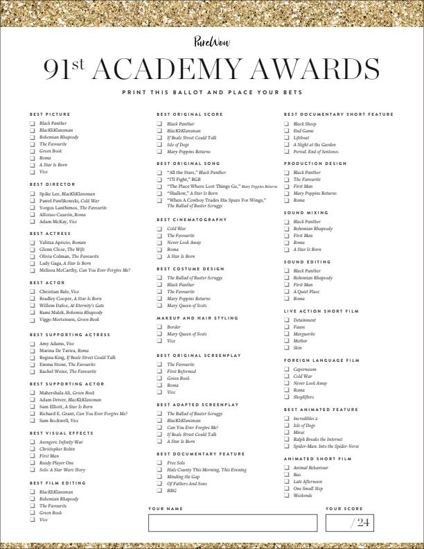 picture relating to Oscar Printable Ballot titled Printable Oscar Ballot 2019