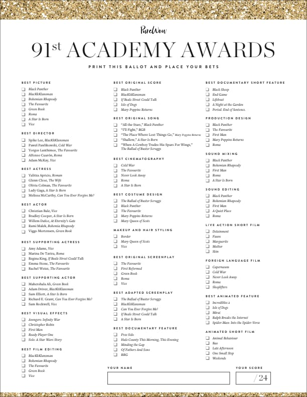 It is a picture of Playful Oscars Printable Ballots