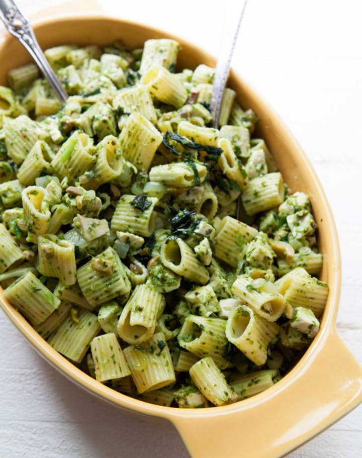 pasta salad chicken green olives ramp vinaigrette recipe