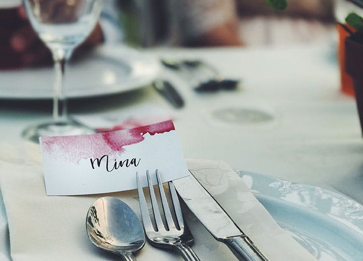place card at wedding
